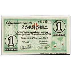 Lote 3 billetes 25, 50 Cèntims y 1 Pesseta. 1 Desembre 1937. Aj. de SOLSONA. AT-2391, 2392, 2393. MB