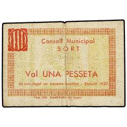 1 Pesseta. 1937. C.M. de SORT. (Algo sucio). ESCASO. AT-2394; T-2784. MBC-. PAPER MONEY OF THE
