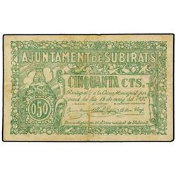 50 Cèntims. 16 Maig 1937. Aj. de SUBIRATS. ESCASO. AT-2409a; T-2799a. MBC. PAPER MONEY OF THE