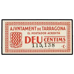 10 Cèntims. 4 Desembre 1937. Aj. de TARRAGONA. AT-2438b; T-2830b. SC. PAPER MONEY OF THE CIVIL