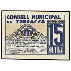 Lote 2 billetes 10 y 15 Cèntims. 15 Novembre 1937. C.M. de TERRASSA. AT-2458a, 2459a; T-2849a, 2850a