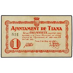 1 Pesseta. 1 Maig 1937. Aj. de TIANA. ESCASO. AT-2461; T-2852. MBC+. PAPER MONEY OF THE CIVIL