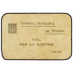 50 Cèntims. 1937. C.M. de TIVISSA. Cartulina. MUY ESCASO. AT-2495a; T-2890a. MBC. PAPER MONEY