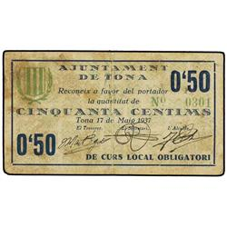 50 Cèntims. 17 MAig 1937. Aj. de TONA. Cartulina. (Sucio). ESCASO. AT-2500a; T2895a. MBC+. PAP