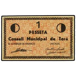 Lote 2 billetes 50 Cèntims y 1 Pesseta. S/F. C.M. de TORÀ. AT-2506, 2507; T-2901, 2902. MBC+.