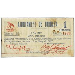 Lote 2 billetes 50 Cèntims y 1 Pesseta. 11 MAig 1937. Aj. de TORDERA. (Sucio). AT-2510, 2511; T-2905