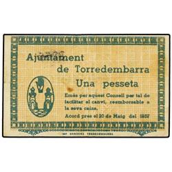 Lote 2 billetes 50 Cèntims y 1 Pesseta. 20 MAig 1937. Aj. de TORREDEMBARRA. AT-2540, 2541; T-2953, 2