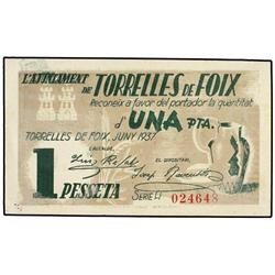 1 Pesseta. Juny 1937. Aj. de TORRELLES DE FOIX. AT-2553; T-2970. SC. PAPER MONEY OF THE CIVIL