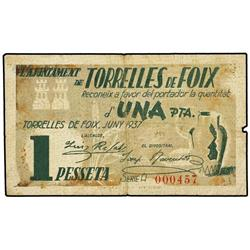 Lote 2 billetes 50 Cèntims y 1 Pesseta. Juny 1937. Aj. de TORRELLES DE FOIX. AT-2553; 2554; T-2970,