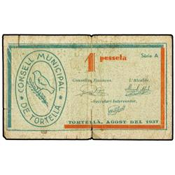 Lote 3 billetes 25, 50 Cèntims y 1 Pesseta. Agost 1937. C.M. de TORTELLÀ. (El de 50 Cèntims, roturas