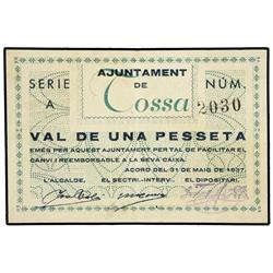 1 Pesseta. 31 Maig 1937. Aj. de TOSSA. ESCASO. AT-2584a; T-3002a. MBC+. PAPER MONEY OF THE CIV