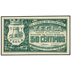 50 Céntimos. Julio 1937. C.M. de YECLA (Murcia). Cas-317; Mont-1647G. SC. PAPER MONEY OF THE C