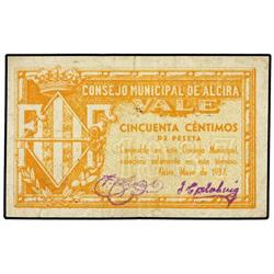 50 Céntimos. Mayo 1937. C.M. de ALCIRA (Valencia). Mont-80B; TV-73. MBC+. PAPER MONEY OF THE C