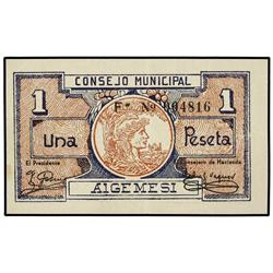 1 Peseta. S/F. C.M. d´ALGEMESÍ (Valencia). Serie F. Mont-116C; TV-143F. EBC. PAPER MONEY OF TH