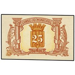 25 Céntimos. Noviembre 1937. C.M. de BUÑOL (Valencia). Mont-373D; TV-431. SC. PAPER MONEY OF T