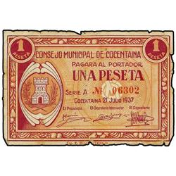 1 Peseta. 21 Junio 1937. C.M. de COCENTAINA (Alicante). (Roturas en margen). Mont-533C; TV-597. MBC.