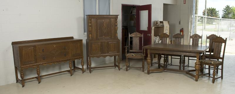 Antique Carved Jacobean Style Dining Set