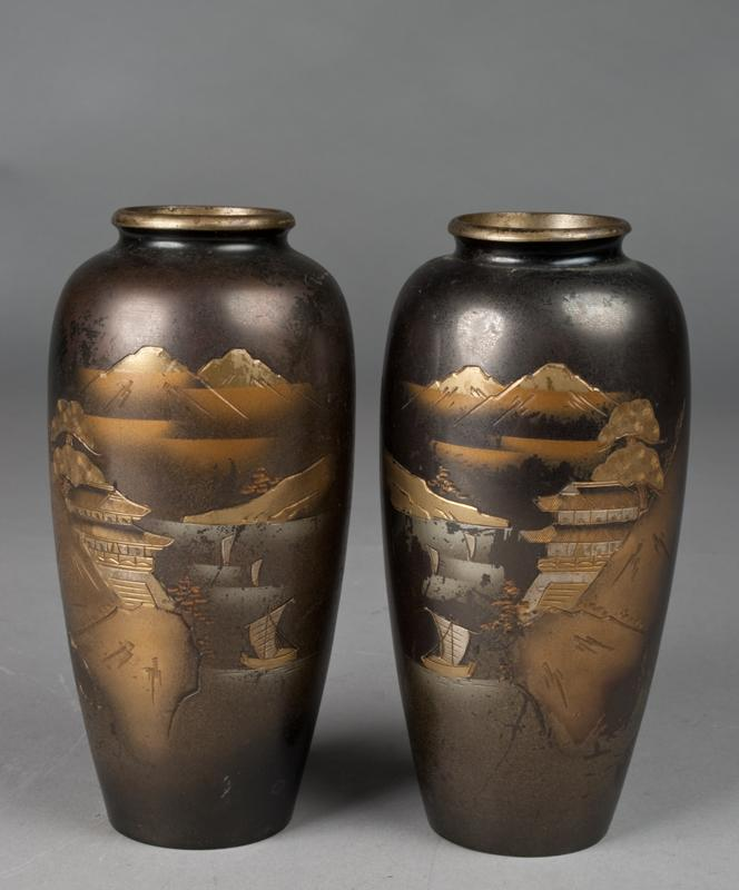 Pr Japanese Mixed Metal Vases