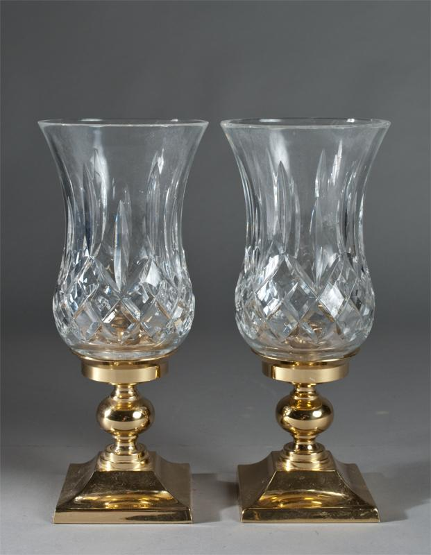 Pr. Of Waterford Crystal and Brass Candle Holders