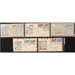 5 First Flight Covers Fiji Islands Air Mail 1941