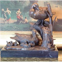 Magnificent Bronze Sculpture Duck Family