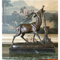 Magnificent Bronze Sculpture Elk & Tree