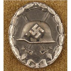 WWII Nazi Black Wound Badge Pin Back Pressed Metal