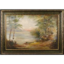 Original Vintage Oil Painting Lake Landscape Framed
