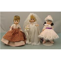 3 Madame Alexander Mini Dolls Meg, Little Miss, Bride