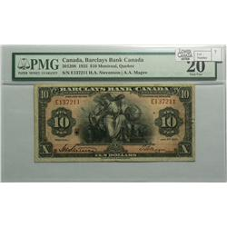 1935 Ten Dollars   Barclays Bank of Canada, 30-12-08, PMG VF-20, Stevenson Magee, serial E137211.