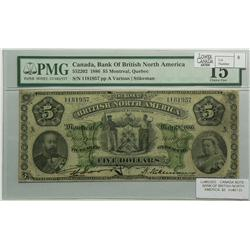 1886 Five Dollars   Bank of British North America, 55-22-02, PMG F-15, Stikeman, Letter A, serial 11