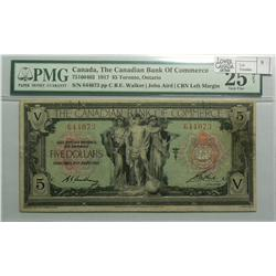 1917 Five Dollars   Canadian Bank of Commerce, 75-16-04-02, PMG VF-25, Walker Aird, Letter C, serial