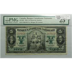 1929 Five Dollars   Banque Canadienne Nationale, 85-12-02, PMG VF-25, Beique Leman, Series B, serial