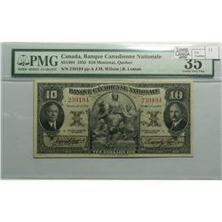1935 Ten Dollars   Banque Canadienne Nationale, 85-14-04, PMG VF-35, Wilson Leman, Letter A, serial