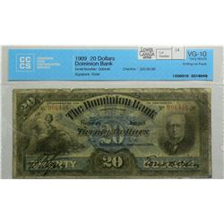 1909  Twenty Dollars   Dominion Bank, 220-20-06, CCCS VG-10, Osler, Letter A, serial 006446, writing