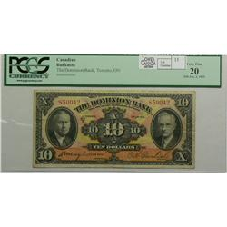 1935 Ten Dollars   Dominion Bank, 220-26-04, PCGS VF-20, Dawson Carlisle, serial 850042.
