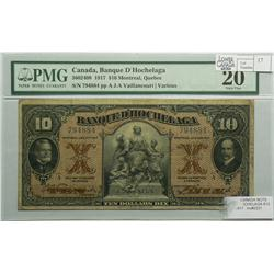 1917 Ten Dollars   Banque D'Hochelaga, 360-24-08, PMG VF-20, Vaillancourt, Series A, serial 794884.