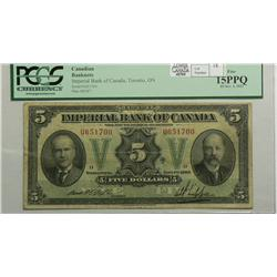 1923 Five Dollars   Imperial Bank of Canada, 375-18-04, PCGS F-15, Rolph Phipps, Letter D, serial U6