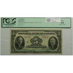 1939 Five Dollars   Imperial Bank of Canada, 375-24-02, PCGS F-15, Jaffray Phipps, Letter A, serial