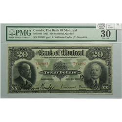 1923 Twenty Dollars   Bank of Montreal, 505-56-06, PMG VF-30, William-Taylor Meredith, Letter C, ser