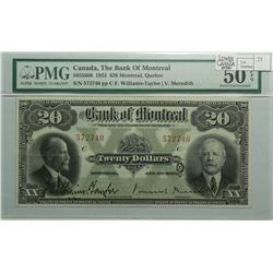 1923 Twenty Dollars   Bank of Montreal, 505-56-06, PMG AU-50 EPQ, William-Taylor Meredith, Letter C,
