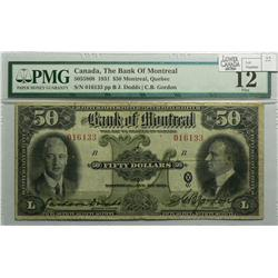 1931 Fifty Dollars   Bank of Montreal, 505-58-08, PMG F-12, Dodds Gordon, Letter B, serial 016133.