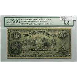 1924 Ten Dollars   Bank of Nova Scotia, 550-18-18, PMG F-15, Campbell McLoed, Letter B, serial 54985