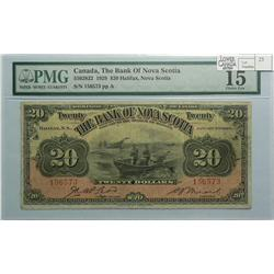 1929 Twenty Dollars   Bank of Nova Scotia, 550-28-22, PMG F-15, McLoed Moore, Letter A, serial 15657