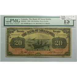 1929 Twenty Dollars   Bank of Nova Scotia, 550-28-22, PMG F-15, McLoed Moore, Letter A, serial 42499