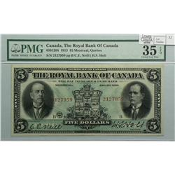 1913 Five Dollars   Royal Bank of Canada, 630-12-04, PMG VF-35, Neil Holt, Letter B, serial 2127959.
