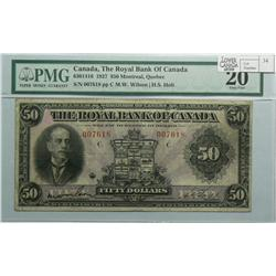 1927 Fifty Dollars   Royal Bank of Canada, 630-14-16, PMG VF-20, Wilson Holt, Letter C, serial 00761