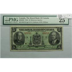1943 Five Dollars   Royal Bank of Canada, 630-20-02, PMG VF-25, Dobson Wilson, Letter D, serial 0257