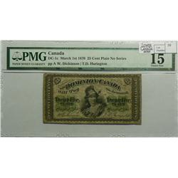 1870 Twenty Five Cents, DC-1a, PMG F-15, Dickinson Harington, Letter A. Identify as DC-1C on the hol