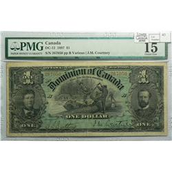 1897 One Dollar, DC-12, PMG F-15, Courtney, Letter B, serial 267050.